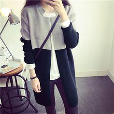 Women Fashion Casual Stand Collar Long Sleeve Contrast Color Long Sweater Knitwear Straight Cardigans