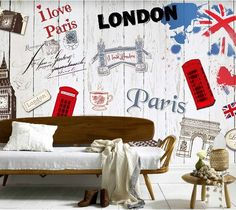 d0d553c7c48 Custom vintage wall paper, painted wall of London elements for bar  apartment wall waterproof papel de parede