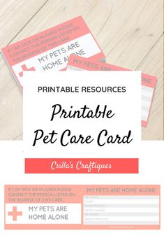Printable Pet Care Card, Pet alert card, In case of emergency printable card to keep in your wallet! Gifts For Dog Owners, Gifts For Pet Lovers, Pet Gifts, Dog Lovers, Custom Dog Beds, Pet Memorial Gifts, Best Pet Insurance, Cat Accessories, Pet Home
