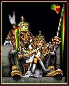 Blessed love to you all Rasta King and Queens Rasta Art, Rasta Lion, Rastafari Art, Lion Live Wallpaper, Black King And Queen, Reggae Artists, Stoner Art, Lion Of Judah, Lion Art