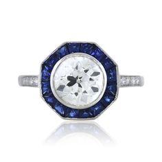 Platinum Octagonal Art Deco Diamond and Sapphire Engagement Ring