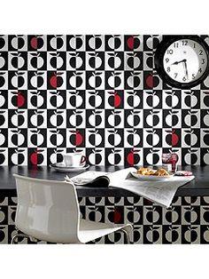 Black orchard/white wallpaper