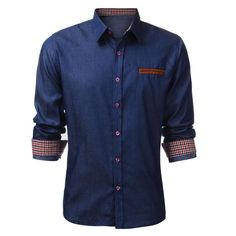 Men Denim Casual Shirt Male Camisa Social Men Dress Shirt 5d1ae9f5861d3