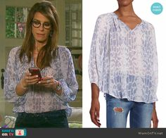 5419e07d2bd3 Hope s blue snake print blouse on Days of our Lives. Outfit Details  https