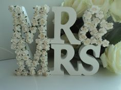 Mr And Mrs Letters Sign White Wood Wedding Gift Mr & Mrs Letters Word Plaque