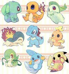 Bulbasaur, Charmander, Chikorita, Cyndaquil, Totodile, Torchic, Snivy, Mudkip, Pikachu, cute, chibi; Pokemon