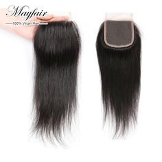 Hot Mayfair hair 4X4 straight lace closure brazilian closure Human Hair Closure With Baby Hair Swiss lace closure bleached knots US $74.10