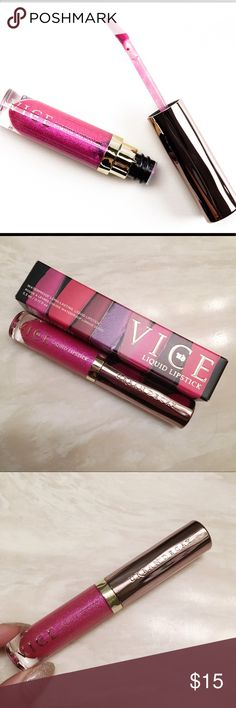 Urban Decay Vice Liquid Lipstick Hot Pink Only used once(try on), looks brand new come with new original box. Didn't really match my skin tone unfortunately 🌷  Waterproof long lasting liquid lipstick in color Big Bang, which is a metallic hot pink color with glitter in, super pretty!!   💖💖💖 Urban Decay Makeup