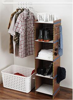 DIY pegboard and zip tie shelving. No tutorial, but duh...