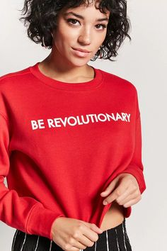 Product Name:Be Revolutionary Graphic Cropped Sweatshirt, Category:top_blouses, Price:14.9