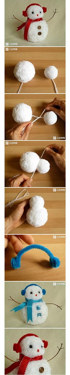 bonhomme de neige en pompon