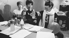 Jimin and J-hope drinking their beverage and the the other members reactions.... hahaha thats too cute