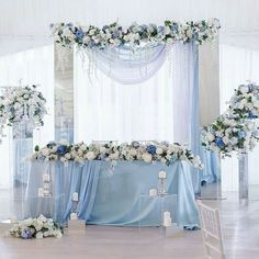 Wedding Insurance For the Most Important Day in Your Life. Blue Wedding Decorations, Quince Decorations, Wedding Themes, Baby Blue Wedding Theme, Pastel Blue Wedding, Blue Wedding Colors, Blue Wedding Centerpieces, Candy Centerpieces, Wedding Parties