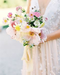 Skip a monochromatic white bash and consider one of the following color combos, which range from classic and tasteful to boldly underrated, for your summer wedding. We promise, you'll be so glad you did—especially when you see them brought to life on the big day. #Wedding #Summer #ColorPalette #Bright #SummerWedding #WeddingIdeas #WeddingColors #SummerColors | Martha Stewart Weddings - Our Favorite Summer Wedding Color Palettes Summer Wedding Colors, Spring Wedding Flowers, Floral Wedding, Wedding Bouquets, Bridesmaid Bouquets, Mauve Wedding, Summer Weddings, Summer Flowers, Bridesmaids