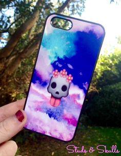 Iphone 4 4S Phone Case Emoji Skull Galaxy Print by StudsandSkulls