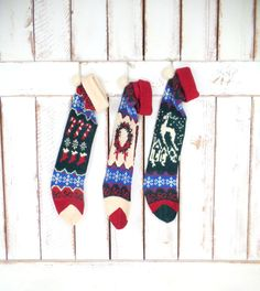 Rustic/woodland handmade vintage crochet woven knit Christmas stockings/reindeer/candy cane/snowflake wreath knit xmas socks/set of 3 by GreenCanyonTradingCo on Etsy