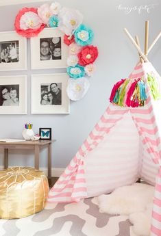 "Does your toddler want a ""big girl room"" she can grow into? If so, this lovely pink bedroom decor, complete with a fabric play tent, is just the thing to make her smile!"