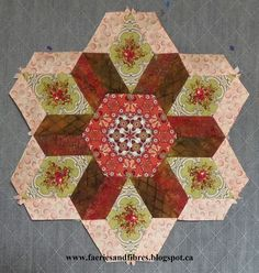 Faeries and Fibres: Round 1 of the First Rosette in The New Hexagon Quilt Along