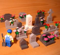 DadventureDan's CUSTOM CEMETERY SET A for LEGO town city funeral gravestone lot