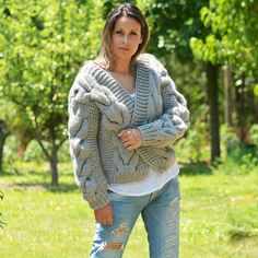 # EXCLUSIVE DESIGN BOUTIQUE HAND KNITTED MOHAIR WOOL CARDIGAN GREY # *** HANDCRAFTED with LOVE by EXTRAVAGANTZA *** PRODUCT FEATURES: • • Brand: EXTRAVAGANTZA • • Design: Luxury Soft Wool Cable Cardigan / Bomber Jacket • • Style: hand knitted cardigan • • Material:Luxury Soft feel