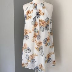 """NWT Summer Dress Just in time for Memorial Day is this cute white dress with florals abounding - buttons at neck - 30"""" long - 100% polyester Timing Dresses Midi"""