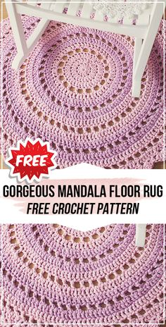 crochet Gorgeous Mandala Floor Rug free pattern - Knitting for Beginners Cotton Crochet Patterns, Crochet Doily Rug, Crochet Carpet, Crochet Mandala Pattern, Doily Patterns, Crochet Home, Free Crochet, Crochet Ideas, Easy Crochet