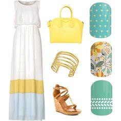 Jamberry + Yellow Maxi Dress  Teal Mini Polka :: Sweet Whimsy :: Cabana Spring Summer 2015 Fashion Collage Nail Wraps Maxi Dress