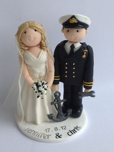navy groom and bride cake topper