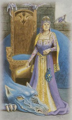 Celtic Dragon Tarot (DJ Conway, Lisa Hunt): Queen of Wands