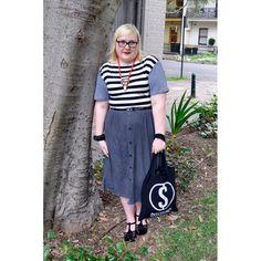 stripes, black, white, blue-y grey, red lips