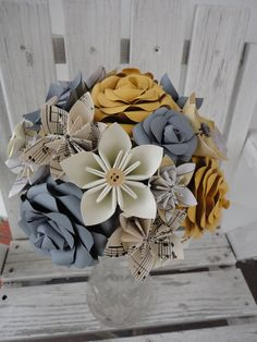 Paper Flower Wedding Package Sarah mixed bouquets by PoshStudios, $200.00