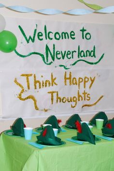 Think Happy Thoughts at this Peter Pan Birthday Party Fairy Birthday Party, 3rd Birthday Parties, Boy Birthday, 30th Party, Sofia Party, Birthday Ideas, Camping Party Decorations, Birthday Party Decorations, Camping Parties