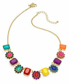 kate spade new york Necklace, Gold-Tone Multi Color Run Around Thin Necklace