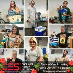 More of our awesome June Day-At-The-Beach Giveaway BIG winners! Consumer Energy Solutions, a #fun place to #work! Call RUBY at 727-748-1700.  #CES #Jobs #Sales