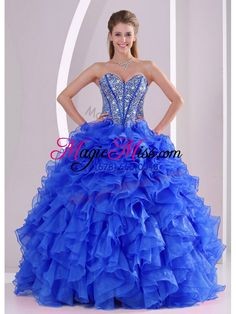 wholesale royal blue sweetheart ruffles and beaded decorate quinceanera dresses on sale
