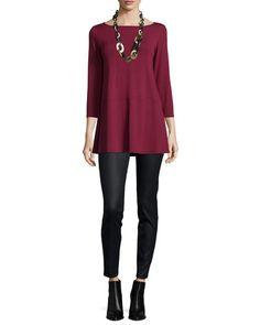 -643T Eileen Fisher  3/4-Sleeve Jersey Tunic Coated Stretch Denim Leggings, Black