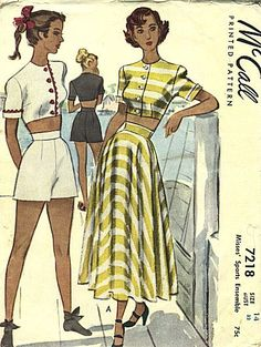 Sportswear ensemble with matching shorts or long, flared skirt and Crop top ~ McCall 7218, 1940s