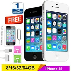 Apple #iphone 4s 8 16 32 64gb #factory unlocked #smartphone mobile black white uk,  View more on the LINK: http://www.zeppy.io/product/gb/2/172313185943/
