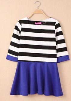 Fashoin Enchating Fashionable Dizzying Bule Blending round neck Half Sleeve Striped Fashion Dresses