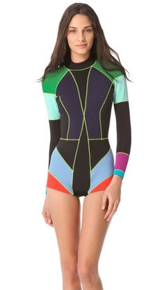 Cynthia Rowley Neoprene Wetsuit geometric design and shortie briefs I must get one of these chic feminine wetsuits for the beach instead of my boring androgynous black long one Aqua Sport, Moda Fashion, Sporty Fashion, Girl Fashion, Lingerie, Cynthia Rowley, Swimsuits, Bikinis, Swimwear Fashion