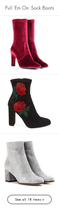 """Pull 'Em On: Sock Boots"" by polyvore-editorial ❤ liked on Polyvore featuring sockboots, shoes, boots, red, stuart weitzman, stuart weitzman shoes, red velvet boots, red velvet shoes, velvet shoes and ankle booties"