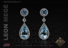 detachable aquamarine diamond earrings platinum micropave by leon mege
