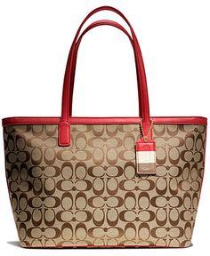 Coach Legacy Weekend Signature C Medium Zip Top Tote Handbags Accessories Macy S
