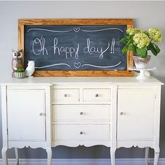 Ready to get your DIY on? This Super Simple X-Large Chalkboard took us about 15 minutes (not including drying time) to make! I use it ALL the time -- every holiday -- every celebration -- and to welcome out of town house guests! Google: Eighteen25 Chalkboard to get the tutorial.