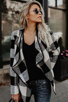 Women Winter Wool Plaid Coat Fashion Lapel Open Stitch Trench Outwear 2018 New Fashion Plaid Coat, Plaid Jacket, Cotton Jacket, Fur Coat, Coats For Women, Jackets For Women, Clothes For Women, Fall Jackets, Mode Mantel