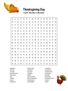 Get ready for Thanksgiving with a free printable word search that will have you and the kids happily anticipating the celebration to come.