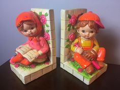 Vintage Boy Girl Bookends Chalkware Reading Made In Japan MCM Mid Century Modern