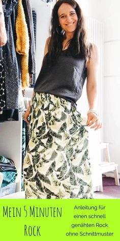 Sewing instructions for a quickly sewn skirt without a pattern . Informations About Mein 5 Minuten Rock (Nähanleitung ohne Schnittmuster) Clothes Dye, Diy Clothes, Sewing Tutorials, Sewing Patterns, Sewing Projects, Diy Kleidung, Couture, Learn To Sew, Outfits For Teens
