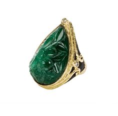 KATY BRISCOE - Carved Emerald, Carved Jet & Diamond Ring in 18k Yellow Gold