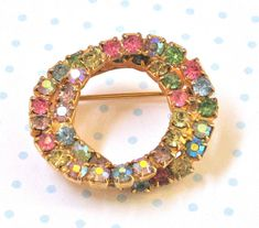 Multi Colored pin brooch Rhinestones Double by ArabellaReason